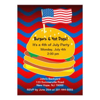 4 de julio invitación del fiesta del Bbq