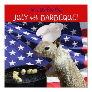 """4 de julio invitaciones de la ardilla de BBQin Invitación 5.25"""" X 5.25"""""""