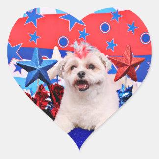 4 de julio - Lhatese - risitas Pegatina En Forma De Corazón