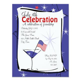 """4 de julio Martini Invitación 4.25"""" X 5.5"""""""