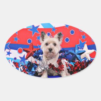 4 de julio - mojón Terrier - Roxy Pegatina Óval