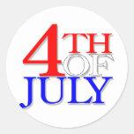 4 de julio pegatina redonda