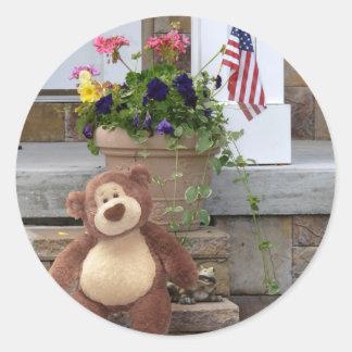 4 de julio pegatinas del oso de peluche pegatina redonda