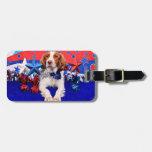 4 de julio - perro de aguas de Bretaña - Charlie Etiquetas Para Equipaje