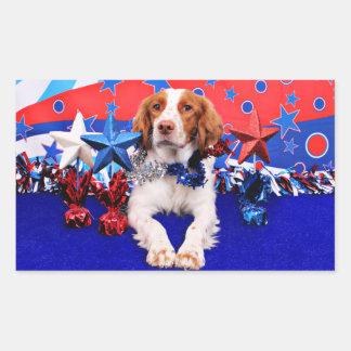 4 de julio - perro de aguas de Bretaña - Charlie Rectangular Pegatinas