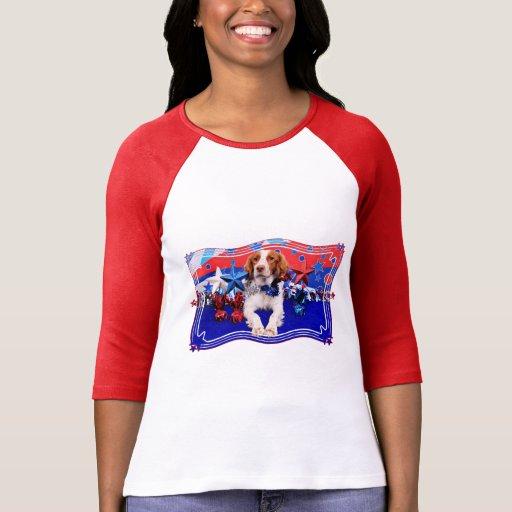 4 de julio - perro de aguas de Bretaña - Charlie Camisetas