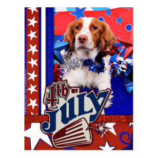 4 de julio - perro de aguas de Bretaña - Charlie Tarjeta Postal