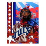 4 de julio - perro de aguas de rey Charles Postal