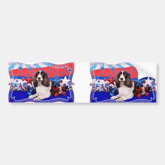4 de julio - perro de aguas de saltador inglés - C Etiqueta De Parachoque