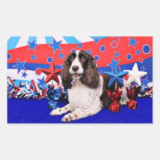 4 de julio - perro de aguas de saltador inglés - rectangular pegatina