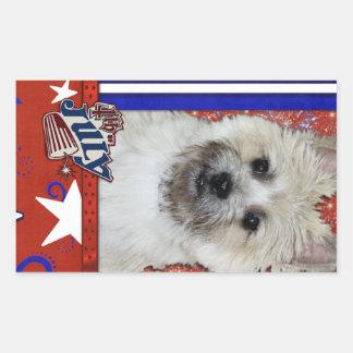 4 de julio petardo - mojón Terrier - oso de Rectangular Altavoz
