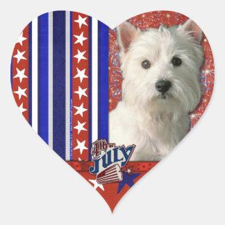 4 de julio petardo - montaña del oeste Terrier Pegatina En Forma De Corazón