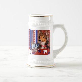 4 de julio petardo - perrito de Sheltie - tonelero Jarra De Cerveza