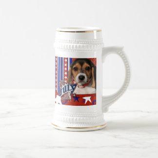 4 de julio petardo - perrito del beagle jarra de cerveza