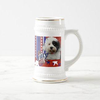 4 de julio petardo - Terrier tibetano Jarra De Cerveza