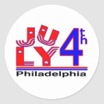 4 de julio Philadelphia Pegatina Redonda