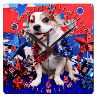 4 de julio - Pitbull X - Opie Reloj Cuadrado