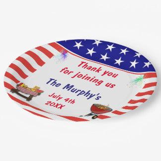 4 de julio placas de papel de la barbacoa plato de papel de 9 pulgadas