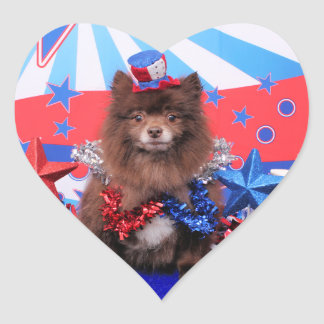 4 de julio - Pomeranian - Fred Pegatina En Forma De Corazón