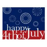 4 de julio postal de los fuegos artificiales del D