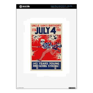 4 de julio propaganda del cumpleaños WWI del tío iPad 3 Skins