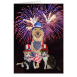 4 de julio tarjeta de cumpleaños con los mascotas