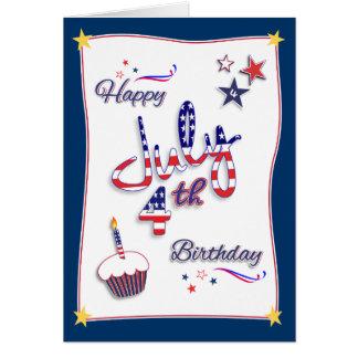 4 de julio tarjeta de cumpleaños del Día de la