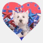 4 de julio - Westie - polo Pegatina De Corazón