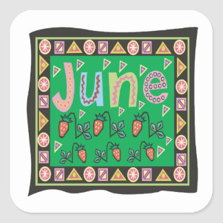 4 de junio pegatina cuadrada