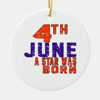 4 de junio una estrella nació adorno redondo de cerámica