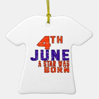 4 de junio una estrella nació adorno de cerámica en forma de playera