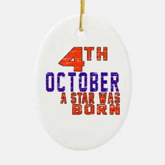 4 de octubre una estrella nació adorno navideño ovalado de cerámica