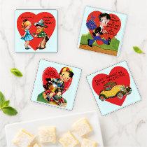 4 Different Cute Retro Valentine's Day Designs Coaster Set