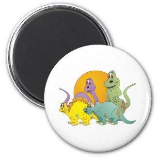 4 Dinosaur Friends 2 Inch Round Magnet