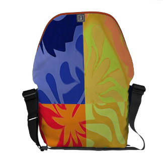4 divided colorful abstracts courier bag