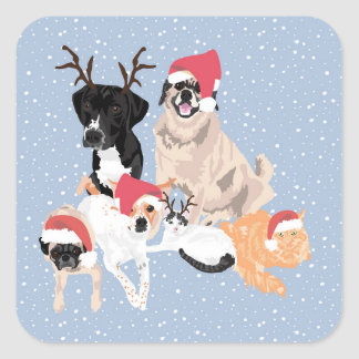 4 Dogs and 2 Cats Holiday Sticker