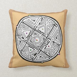 4 doorway maze design throw pillow
