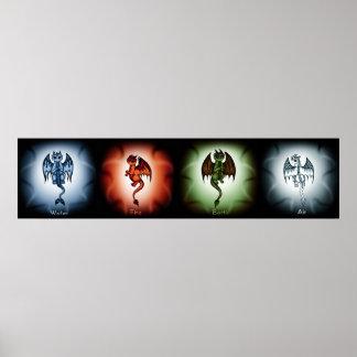 4 Element Dragons Poster