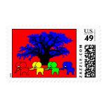 4 Elephants and a baobab tree Postage