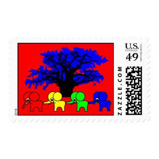 4 Elephants and a baobab tree Stamp