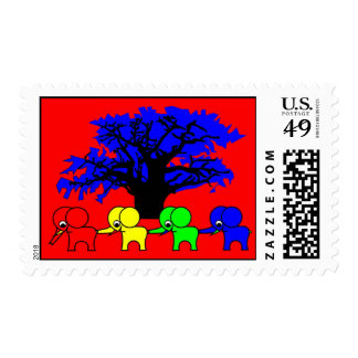 4 Elephants and a baobab tree Stamps