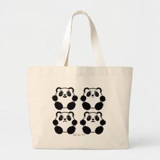 4 Emotional Pandas Large Tote Bag