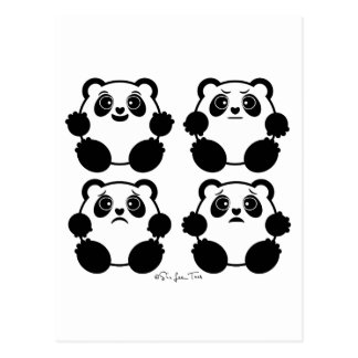 4 Emotional Pandas Post Card