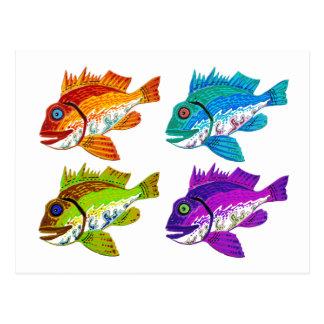 4 Fish abstract art Gifts Postcard