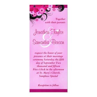 """4"""" floral fucsia ligero x 9,25"""" boda invita invitación 4"""" x 9.25"""""""