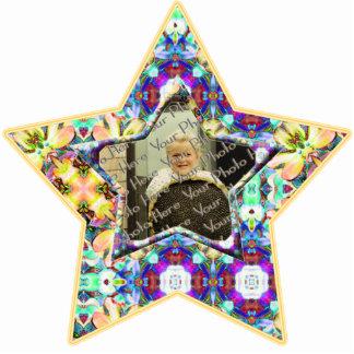 4 Flower Kaleidoscope Custom Photo Star Ornament Photo Cutout