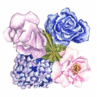 4 Flowers Pin Brooch Photo Sculpture