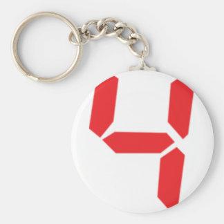 4 four red alarm clock digital number basic round button keychain
