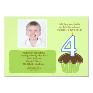 4 FOUR Year Old CUPCAKE PHOTO BIRTHDAY INVITE