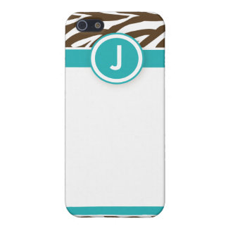 4 Funky Zebra Aqua/Chocolate Case For iPhone SE/5/5s